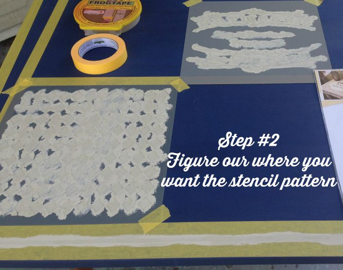 dining room table makeover using frog tape and stencils