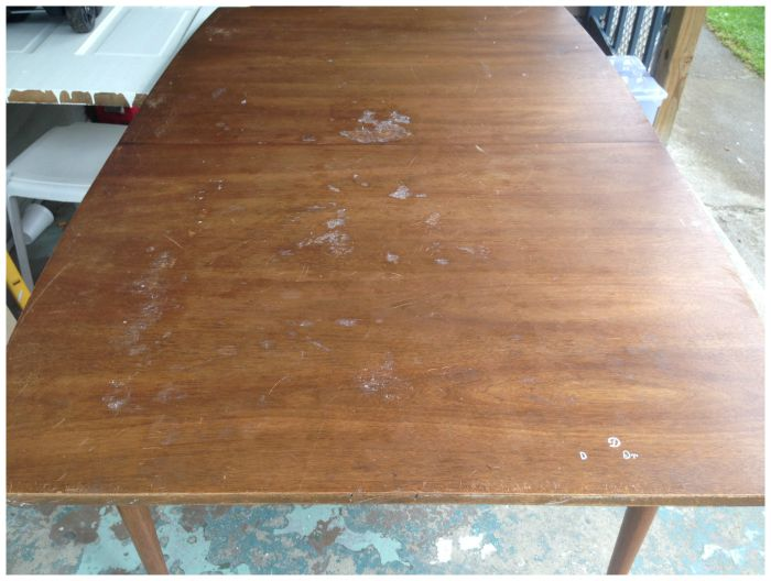 unfinished dining room table before makeover