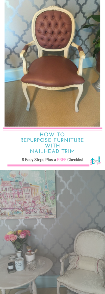 How to reupholster a chair with nailhead trim