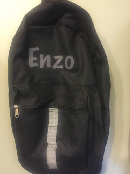 custom backpack with name on canvas