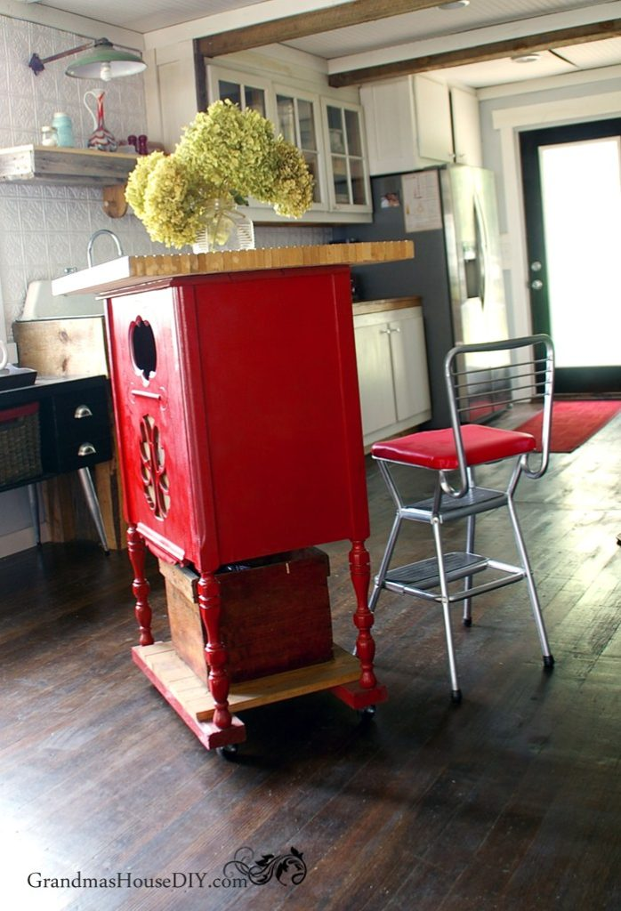red-kitchen-island-radio-stand-cabinet-diy